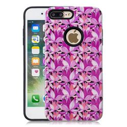 Lotus Flower Pattern 2 in 1 PC + TPU Glossy Embossed Back Cover for iPhone 8 Plus / 7 Plus 7P(5.5 inch)