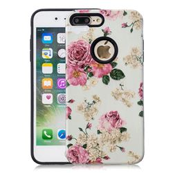 Rose Flower Pattern 2 in 1 PC + TPU Glossy Embossed Back Cover for iPhone 8 Plus / 7 Plus 7P(5.5 inch)
