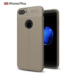 Luxury Auto Focus Litchi Texture Silicone TPU Back Cover for iPhone 8 Plus / 7 Plus 7P(5.5 inch) - Gray
