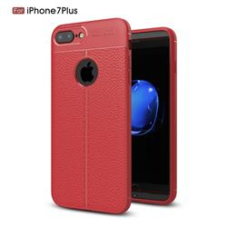 Luxury Auto Focus Litchi Texture Silicone TPU Back Cover for iPhone 8 Plus / 7 Plus 7P(5.5 inch) - Red