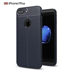 Luxury Auto Focus Litchi Texture Silicone TPU Back Cover for iPhone 8 Plus / 7 Plus 7P(5.5 inch) - Dark Blue