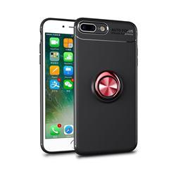Auto Focus Invisible Ring Holder Soft Phone Case for iPhone 8 Plus / 7 Plus 7P(5.5 inch) - Black Red