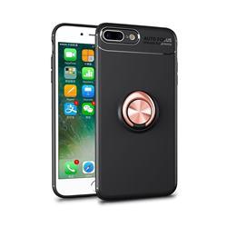 Auto Focus Invisible Ring Holder Soft Phone Case for iPhone 8 Plus / 7 Plus 7P(5.5 inch) - Black Gold