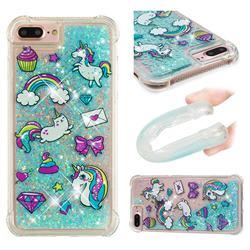 Fashion Unicorn Dynamic Liquid Glitter Sand Quicksand Star TPU Case for iPhone 8 Plus / 7 Plus 7P(5.5 inch)