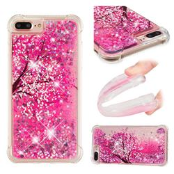 Pink Cherry Blossom Dynamic Liquid Glitter Sand Quicksand Star TPU Case for iPhone 8 Plus / 7 Plus 7P(5.5 inch)