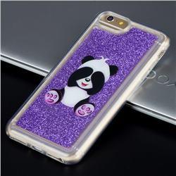 Naughty Panda Glassy Glitter Quicksand Dynamic Liquid Soft Phone Case for iPhone 8 Plus / 7 Plus 7P(5.5 inch)