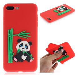 Panda Eating Bamboo Soft 3D Silicone Case for iPhone 8 Plus / 7 Plus 7P(5.5 inch) - Red