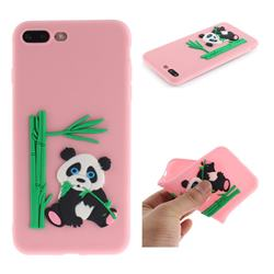 Panda Eating Bamboo Soft 3D Silicone Case for iPhone 8 Plus / 7 Plus 7P(5.5 inch) - Pink