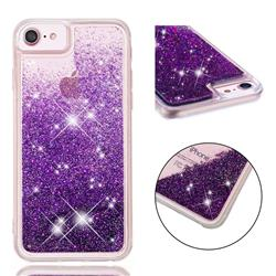 Dynamic Liquid Glitter Quicksand Sequins TPU Phone Case for iPhone 8 Plus / 7 Plus 7P(5.5 inch) - Purple