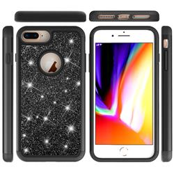 Glitter Rhinestone Bling Shock Absorbing Hybrid Defender Rugged Phone Case Cover for iPhone 8 Plus / 7 Plus 7P(5.5 inch) - Black