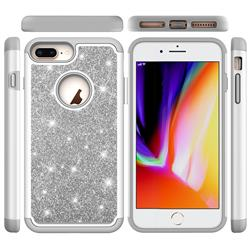 Glitter Rhinestone Bling Shock Absorbing Hybrid Defender Rugged Phone Case Cover for iPhone 8 Plus / 7 Plus 7P(5.5 inch) - Gray