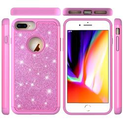Glitter Rhinestone Bling Shock Absorbing Hybrid Defender Rugged Phone Case Cover for iPhone 8 Plus / 7 Plus 7P(5.5 inch) - Pink