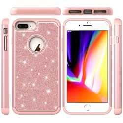 Glitter Rhinestone Bling Shock Absorbing Hybrid Defender Rugged Phone Case Cover for iPhone 8 Plus / 7 Plus 7P(5.5 inch) - Rose Gold