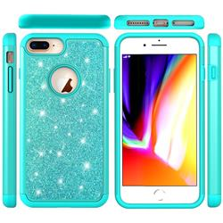 Glitter Rhinestone Bling Shock Absorbing Hybrid Defender Rugged Phone Case Cover for iPhone 8 Plus / 7 Plus 7P(5.5 inch) - Green