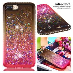 Diamond Frame Liquid Glitter Quicksand Sequins Phone Case for iPhone 8 Plus / 7 Plus 7P(5.5 inch) - Gray Pink