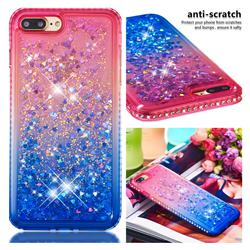 Diamond Frame Liquid Glitter Quicksand Sequins Phone Case for iPhone 8 Plus / 7 Plus 7P(5.5 inch) - Pink Blue