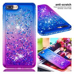 Diamond Frame Liquid Glitter Quicksand Sequins Phone Case for iPhone 8 Plus / 7 Plus 7P(5.5 inch) - Blue Purple