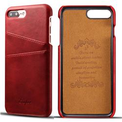 Suteni Retro Classic Card Slots Calf Leather Coated Back Cover for iPhone 8 Plus / 7 Plus 7P(5.5 inch) - Red