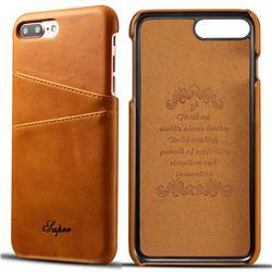 Suteni Retro Classic Card Slots Calf Leather Coated Back Cover for iPhone 8 Plus / 7 Plus 7P(5.5 inch) - Khaki