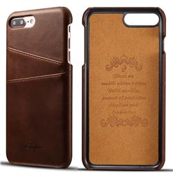 Suteni Retro Classic Card Slots Calf Leather Coated Back Cover for iPhone 8 Plus / 7 Plus 7P(5.5 inch) - Brown