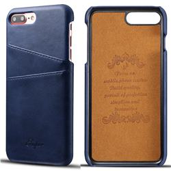 Suteni Retro Classic Card Slots Calf Leather Coated Back Cover for iPhone 8 Plus / 7 Plus 7P(5.5 inch) - Blue