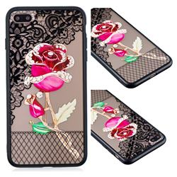 Rose Lace Diamond Flower Soft TPU Back Cover for iPhone 8 Plus / 7 Plus 7P(5.5 inch)