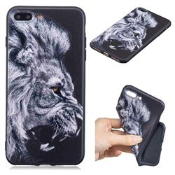 Lion 3D Embossed Relief Black TPU Cell Phone Back Cover for iPhone 8 Plus / 7 Plus 7P(5.5 inch)