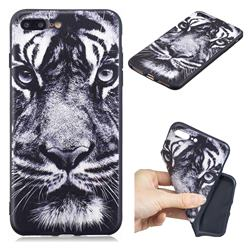 White Tiger 3D Embossed Relief Black TPU Cell Phone Back Cover for iPhone 8 Plus / 7 Plus 7P(5.5 inch)