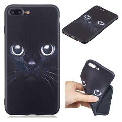 Bearded Feline 3D Embossed Relief Black TPU Cell Phone Back Cover for iPhone 8 Plus / 7 Plus 7P(5.5 inch)