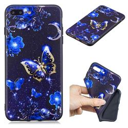 Phnom Penh Butterfly 3D Embossed Relief Black TPU Cell Phone Back Cover for iPhone 8 Plus / 7 Plus 7P(5.5 inch)