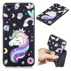 Candy Unicorn 3D Embossed Relief Black TPU Cell Phone Back Cover for iPhone 8 Plus / 7 Plus 7P(5.5 inch)