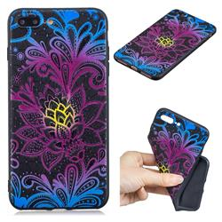 Colorful Lace 3D Embossed Relief Black TPU Cell Phone Back Cover for iPhone 8 Plus / 7 Plus 7P(5.5 inch)