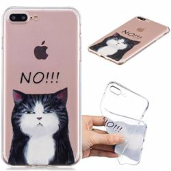 Cat Say No Clear Varnish Soft Phone Back Cover for iPhone 8 Plus / 7 Plus 7P(5.5 inch)