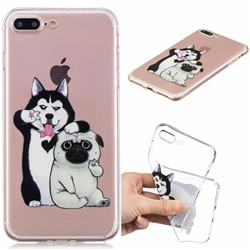 Selfie Dog Clear Varnish Soft Phone Back Cover for iPhone 8 Plus / 7 Plus 7P(5.5 inch)