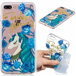 Blue Flower Unicorn Clear Varnish Soft Phone Back Cover for iPhone 8 Plus / 7 Plus 7P(5.5 inch)