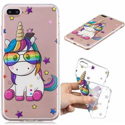 Glasses Unicorn Clear Varnish Soft Phone Back Cover for iPhone 8 Plus / 7 Plus 7P(5.5 inch)