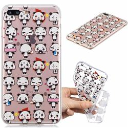 Mini Panda Clear Varnish Soft Phone Back Cover for iPhone 8 Plus / 7 Plus 7P(5.5 inch)