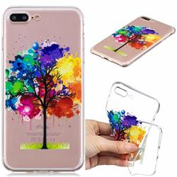 Oil Painting Tree Clear Varnish Soft Phone Back Cover for iPhone 8 Plus / 7 Plus 7P(5.5 inch)