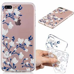 Magnolia Flower Clear Varnish Soft Phone Back Cover for iPhone 8 Plus / 7 Plus 7P(5.5 inch)