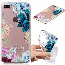 Gem Flower Clear Varnish Soft Phone Back Cover for iPhone 8 Plus / 7 Plus 7P(5.5 inch)