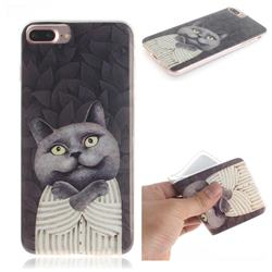 Cat Embrace IMD Soft TPU Cell Phone Back Cover for iPhone 8 Plus / 7 Plus 7P(5.5 inch)