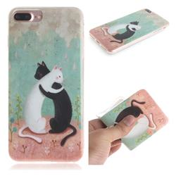 Black and White Cat IMD Soft TPU Cell Phone Back Cover for iPhone 8 Plus / 7 Plus 7P(5.5 inch)