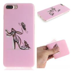 Butterfly High Heels IMD Soft TPU Cell Phone Back Cover for iPhone 8 Plus / 7 Plus 7P(5.5 inch)