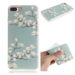 Magnolia Flower IMD Soft TPU Cell Phone Back Cover for iPhone 8 Plus / 7 Plus 7P(5.5 inch)
