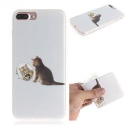 Cat and Tiger IMD Soft TPU Cell Phone Back Cover for iPhone 8 Plus / 7 Plus 7P(5.5 inch)