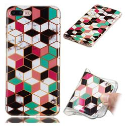 Three-dimensional Square Soft TPU Marble Pattern Phone Case for iPhone 8 Plus / 7 Plus 7P(5.5 inch)