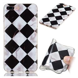 Black and White Matching Soft TPU Marble Pattern Phone Case for iPhone 8 Plus / 7 Plus 7P(5.5 inch)