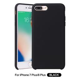 Howmak Slim Liquid Silicone Rubber Shockproof Phone Case Cover for iPhone 8 Plus / 7 Plus 7P(5.5 inch) - Black
