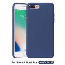 Howmak Slim Liquid Silicone Rubber Shockproof Phone Case Cover for iPhone 8 Plus / 7 Plus 7P(5.5 inch) - Midnight Blue