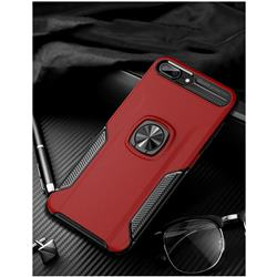 Knight Armor Anti Drop PC + Silicone Invisible Ring Holder Phone Cover for iPhone 8 Plus / 7 Plus 7P(5.5 inch) - Red